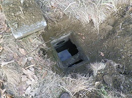 sewer drain in yard